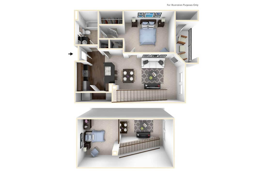 1 Bedroom 1 Bath 865 Sq Ft